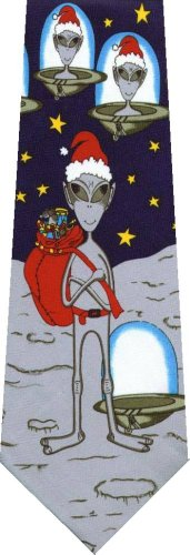 UFO Wisconsin Xmas Store Alien Santa Clause Tie for sale