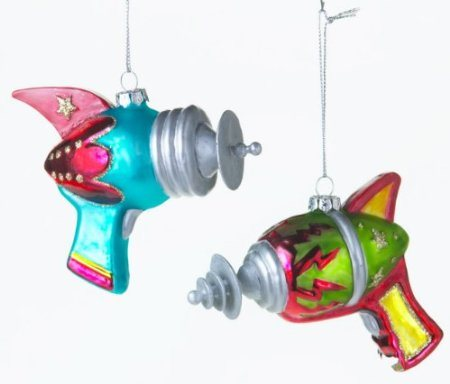 Retro Ray Gun Christmas Tree Glass Ornaments