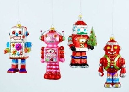 Deluxe Unique Christmas Ornaments Robots Sci-Fi Retro