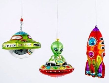 UFO Wisconsin Christmas Store Flying Saucer Alien Ornaments for sale