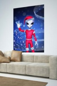 Alien Santa Clause Poster Unique Christmas Gift Idea